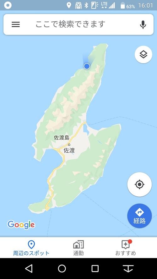 佐渡島のZ坂の位置