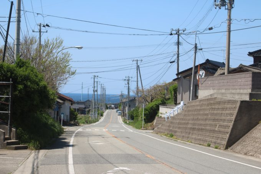 佐渡島の水平線が見える景色
