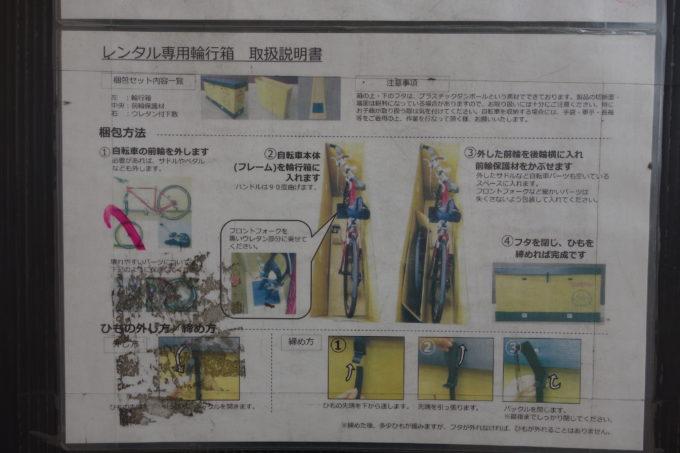 西濃運輸カンガルー自転車イベント便 レンタル輪行箱記載のロードバイク梱包方法