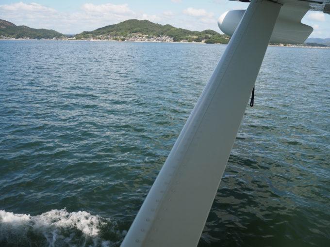 しまなみ海道遊覧飛行 離水時の水上走行