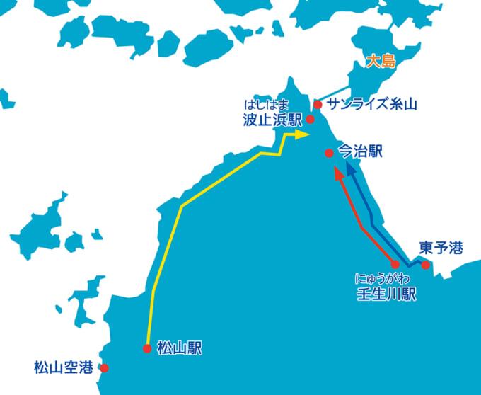 しまなみ海道今治サンライズ糸山への行きかた地図