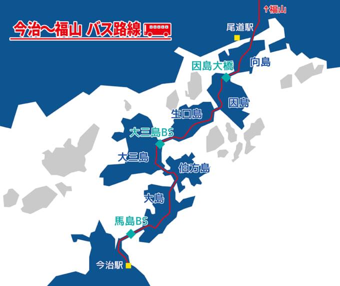 しまなみ海道バス 今治‐福山路線マップ
