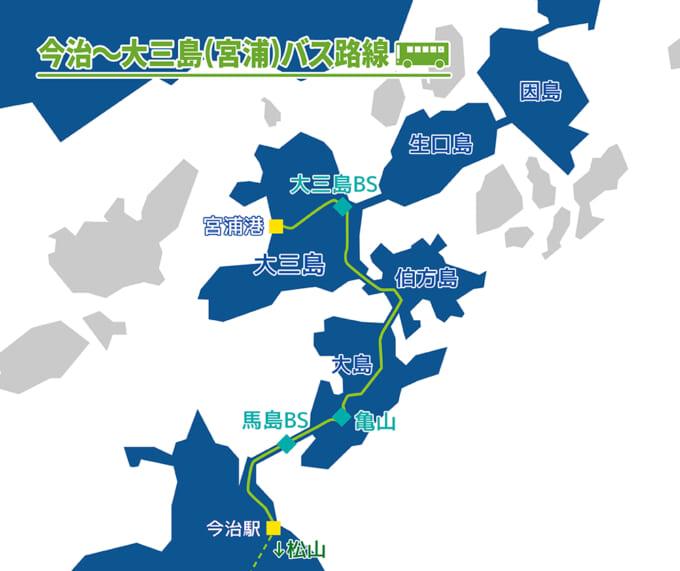 しまなみ海道バス 今治‐大三島線マップ