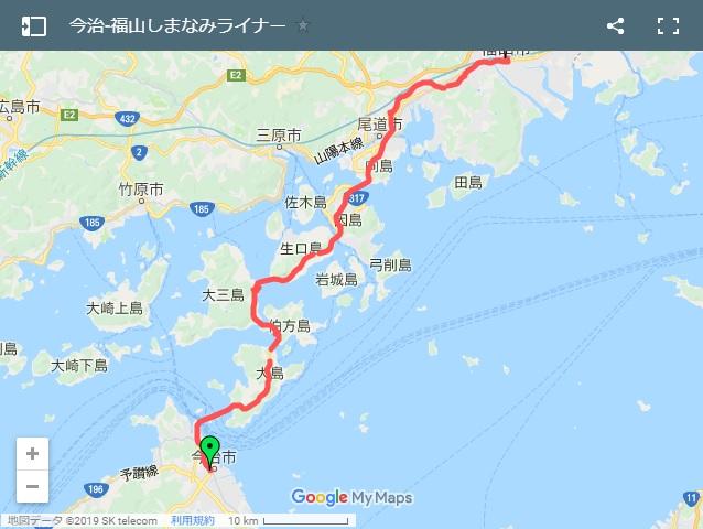 今治‐福山高速バス しまなみライナーのルード
