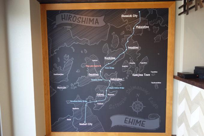 しまなみ海道大三島 サイクリストホテル IKIDANE CYCLIST HOSTEL & CAFE SHIMANAMIの壁面ポスター