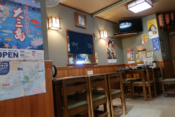 しまなみ海道大三島 海鮮料理くろしお テーブル