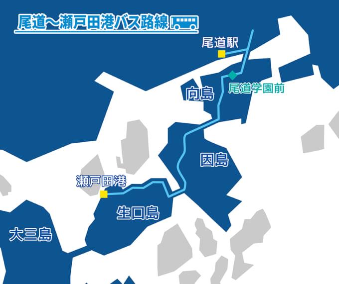 しまなみ海道バス 生口島瀬戸田‐尾道線マップ