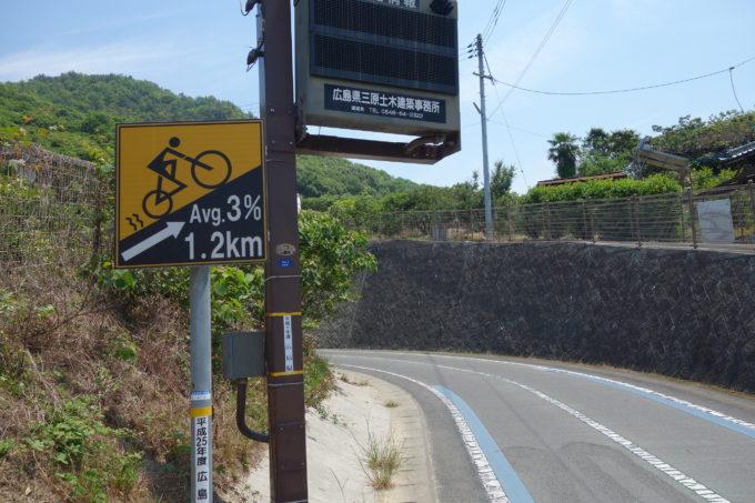 しまなみ海道 登り坂の標識