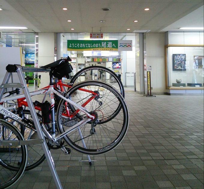 新幹線 新尾道駅のサイクルスタンド