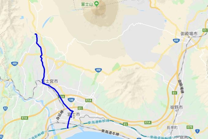 富士山から新幹線新富士駅までのルート
