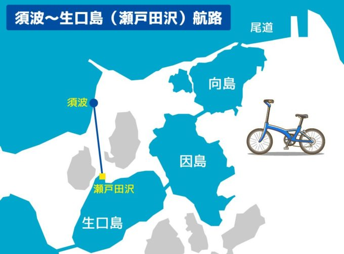 しまなみ海道のフェリー 須波~生口島(瀬戸田沢)航路マップ