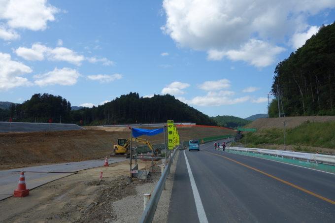 かさ上げ工事中の道路