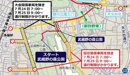 東京オリンピックロードレース スタート地点の走行ルート