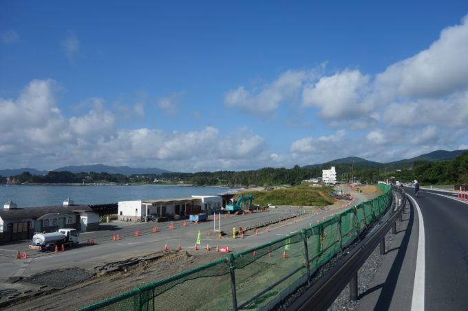ツールド東北 気仙沼ワンウェイフォンド 宮城県の工事が続く海岸線