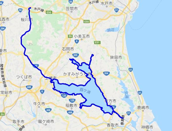 つくば霞ヶ浦りんりんロードのサイクリングルート