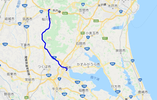 つくばりんりんロード(筑波自転車道線)のサイクリングルート