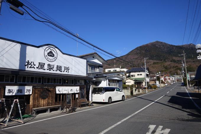 つくばりんりんロード 筑波山を見る松屋製麺所