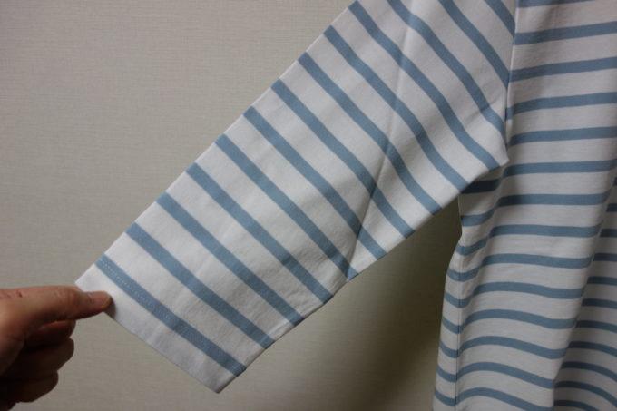 Winnerウィナー コットンボーダー7分袖Tシャツの袖