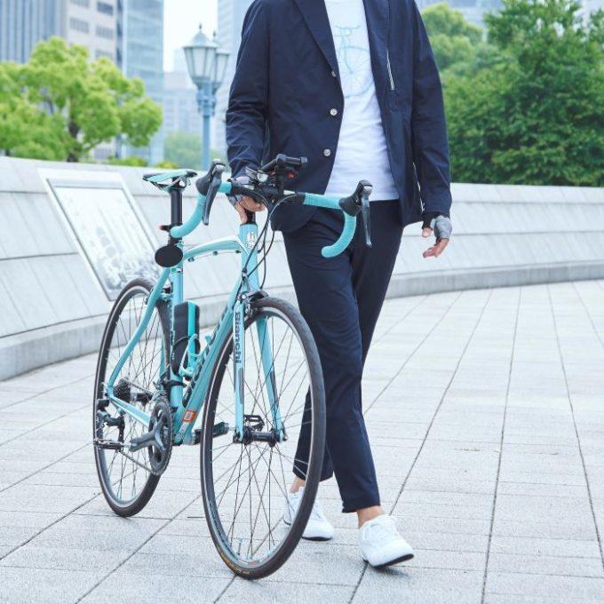 サイクルウェアwinner テーラー衿ジャケットとアンクルパンツのコーディネート