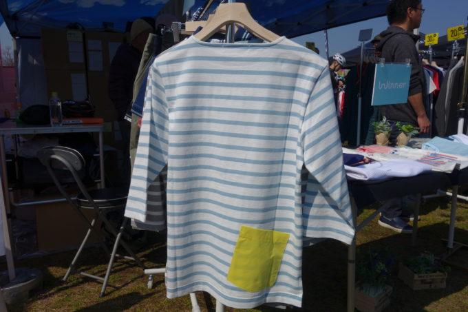 カジュアルサイクルウェアWinnerウィナー コットンボーダー七分袖Tシャツのバックポケット