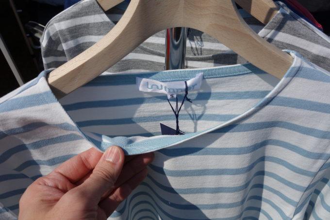 カジュアルサイクルウェアWinnerウィナー コットンボーダー七分袖Tシャツの襟もと拡大