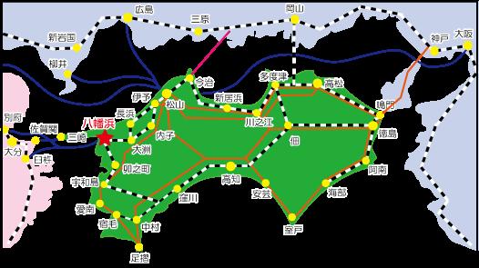 愛媛県八幡浜市の四国の位置